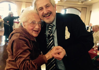101 year old Katherine dancing with the actor rabbi at Ira & Isabellas Jewish/Italian comedy wedding, March 2016